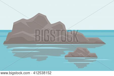 Landscape With Salty Water On Seashore. Waves Hit Rocks And Spray Scatters Vector Illustration