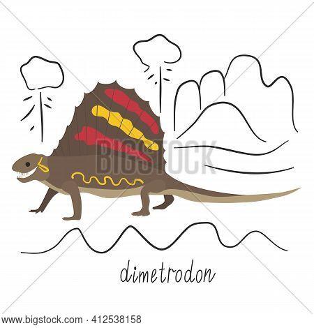 Dimetrodon Dinosaur With Yellow And Red Spots, Cartoon Ancient Reptile. Prehistoric Extinct Animal,