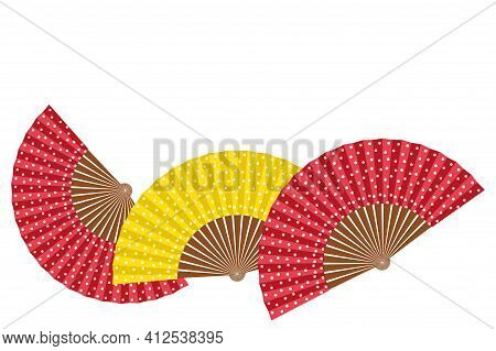 Group Of Spanish Hand Fan Isolated On White Background. Copy Space. Spanish Culture. Set Of Flat Vec