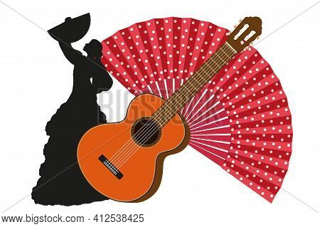 Classic Guitar, Handheld Fan And Flamenco Dancer Silhouette Isolated On White Background. Spanish Cu