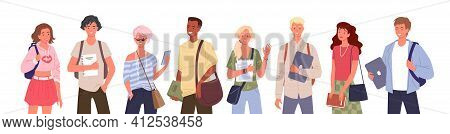 Student People Diversity Set, Young Multinational Group Of Man Woman Diverse Characters