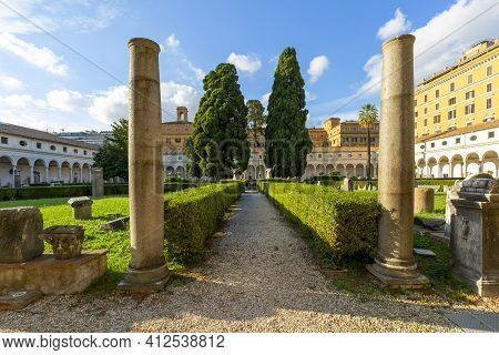 Rome, Italy - October 10, 2020: 16th-century Garden, Cloister Of Michelangelo At 3rd Century Baths O