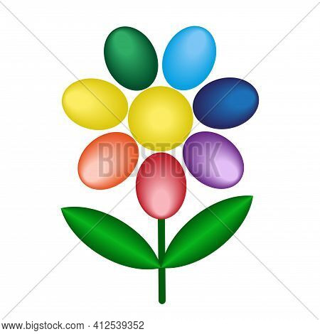 Abstract Cartoon Flower With Rainbow Petals Isolated On White Background. Volumetric Geometric Vecto