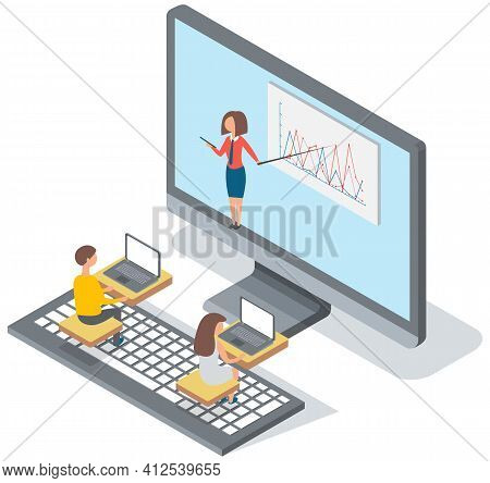 University Lecture With Professor And Students. Woman Teacher Conducts A Lecture Remotely Online