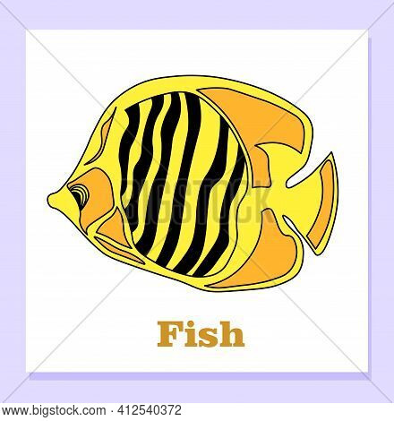 Childish Illustration Of A Snarl. Tropical Yellow Fish. Zebrasoma. The Shortcut Is Training. Isolate