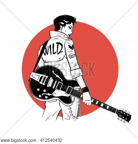 Rocker With Electric Guitar In Sketch Style On Red Background. Vector Illustration.