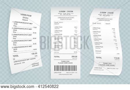 Payment Check Paper Document. Buying Financial Invoice Bill Purchasing Calculate Pay Vector Isolated