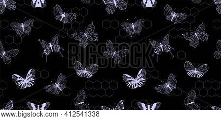 White Butterflies On A Black Background. Seamless Digital Paper With Butterflies. Vector Illustratio