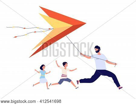 Father Flying Kite. Family Celebration, Parents With Happy Kids. Dad Son Daughter Running, Makar San