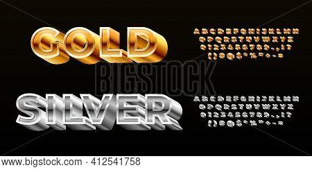 Gold Silver Font. Styling Alphabet, Modern 3d Technology Metal Typeface. Luxury Vip Celebration Deco