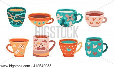 Different Cups. Tea Cup, Scandinavian Kitchen Coffee Mug. Morning English Crockery, Beauty Accessori