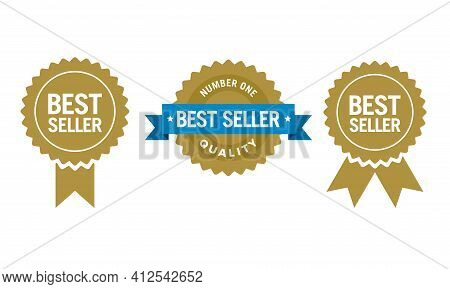 Flat Vector Illustration Of A Best Seller Sign Label. Perfect For  Design Element Of The Best Produc