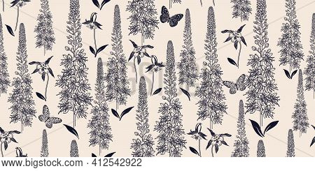 Black And White Seamless Spring Floral Pattern. Flowering Plants. Vintage Vector. Cute Flowers And B