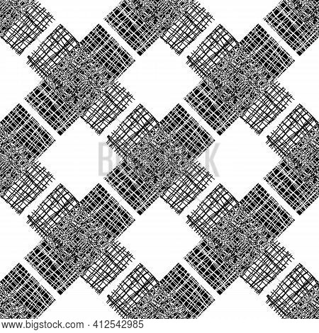 Irregular Vector Gauze Weave Effect Cross Seamless Pattern Background. Backdrop Of Black And White C