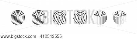 Fingerprint Set. Set Of Fingerprint Types With Twisted Lines Signs. Fingerprint Scanning Icons. Vect
