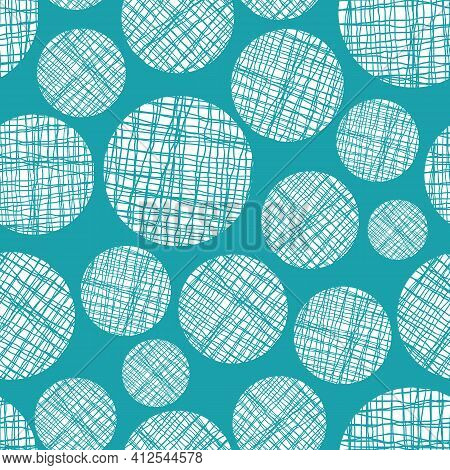 Irregular Weave Yarn Vector Circle Seamless Pattern Background. Backdrop With Small And Large Aqua B