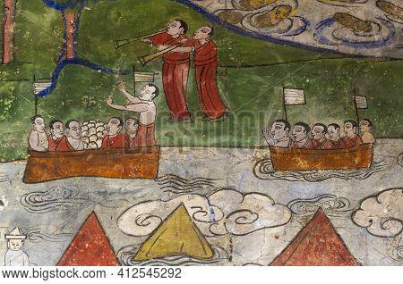 Kharakhorum, Mongolia - August 29, 2019: Paintings In Buddhist Temple And Monastery Erdene Zuu Khiid