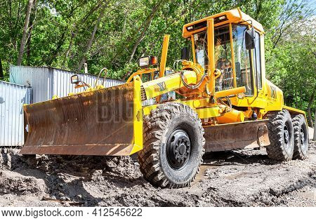 Samara, Russia - May 22, 2016: Heavy Construction Machinery Works On The Construction New Road