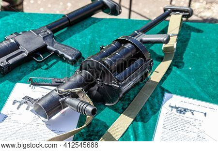 Samara, Russia - May 28, 2016: Russian Firearms. Rg-6 Revolving Grenade Launcher