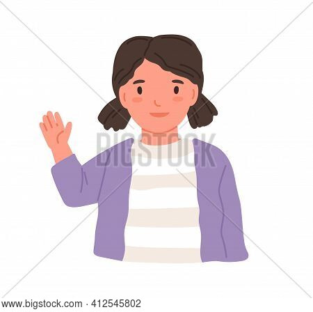 Little Girl Waving With Hand And Saying Hi Or Bye. Smiling Child Greeting Smb. Portrait Of Kid From