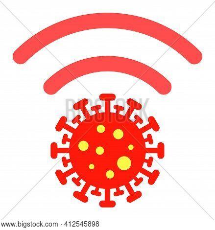 Coronavirus Distribution Icon. Illustration Style Is A Flat Iconic Symbol Isolated On A White Backgr