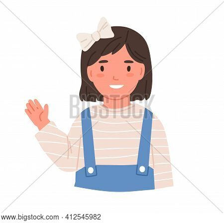 Little Smiling Girl Waving With Hand, Saying Hi Or Bye. Happy Adorable Kid With Hair Bow. Cute Child