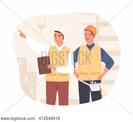 Inspector And Foreman In Hardhats At Construction Site. Supervisor Or Manager Controlling Building P