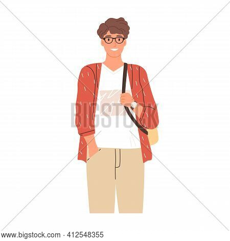 Portrait Of Modern University Student In Eyewear. Happy Young Man Wearing Casual Clothing And Backpa