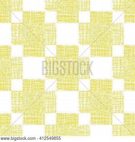 Irregular Vector Gauze Weave Effect Cross Seamless Pattern Background. Backdrop Of Yellow White Coar