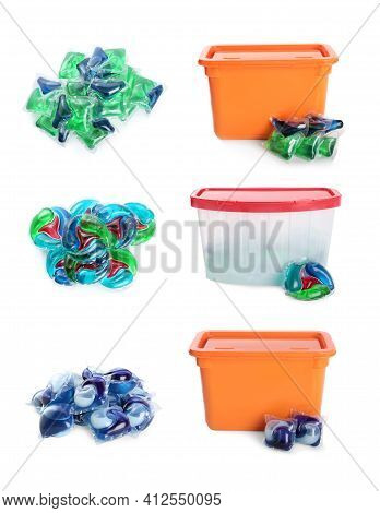 Set With Laundry Capsules On White Background. Detergent Pods