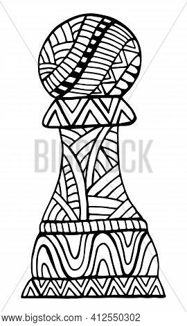 Pawn Chess Piece Decorative Pattern Coloring Page For Adults And Kids, Isolated On White.