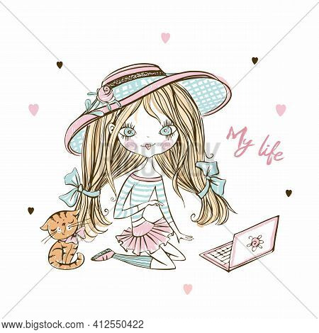 Cute Fashionista Teenage Girl In A Hat With A Laptop And A Kitten. Vector