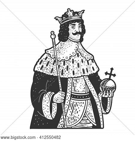 Medieval King Monarch With Crown Sketch Engraving Vector Illustration. T-shirt Apparel Print Design.