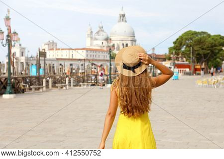 Tourism In Venice, Italy. Young Traveler Girl On Summer Holidays In Europe. Female Back View With Ve