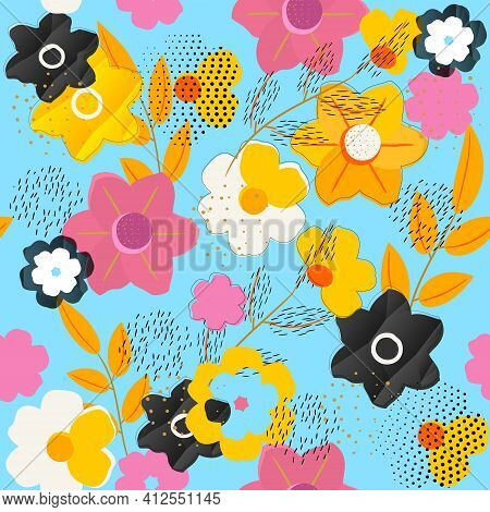 Bright Floral Pattern For Your Business. Abstract Pattern With Flowers, Branches, Elements Of Dots A