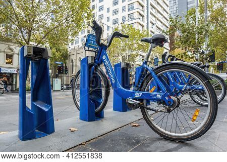 Melbourne, Australia - May 13, 2019: Bicycle Sharing Station Along Swanston Street. Resource Sustain