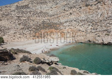 An Isolated Beautiful Beach In Folegandros Greece