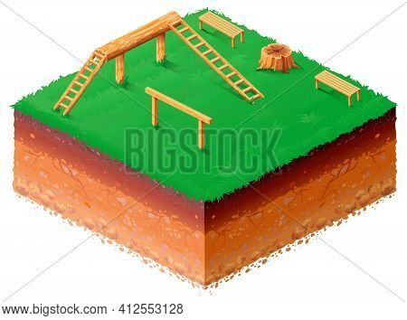Dog Walking Area With Log, Obstacle And Benches. Isometric 3d Drawing Lawn