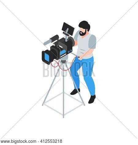 Isometric Cinematography Composition With Isolated Character Of Cameraman With Camera On Tripod Vect