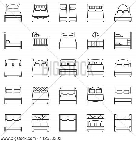 Bed Outline Icons Set - Vector Double And Single Beds Signs