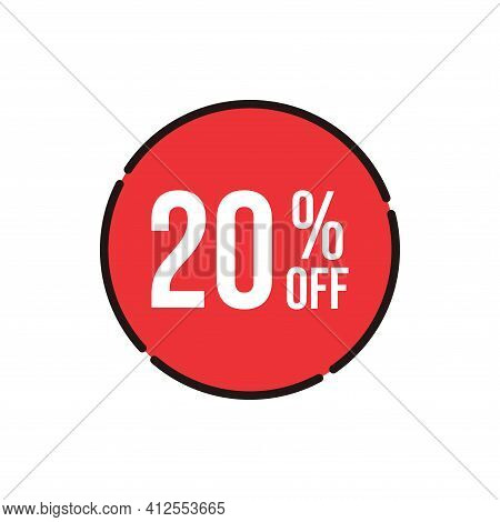 20% Sale Tag Vector Badge Template, 20% Sale Label Collection, Clearance Sale Sticker Emblem, Bargai