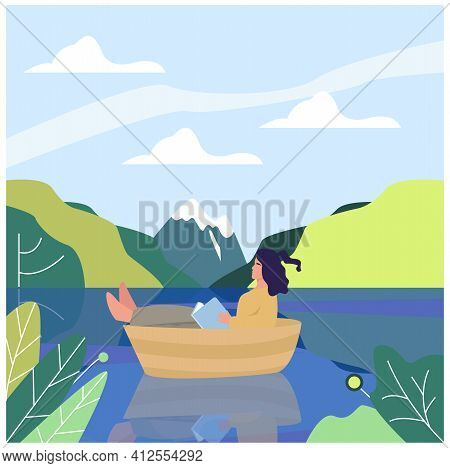 A Girl Sits In A Boat On A Lake In The Middle Of A Mountain Landscape. Mountains, Lake, Boat. Girl I