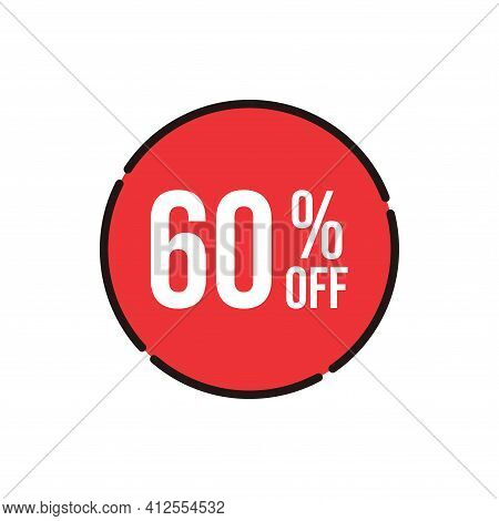 60% Sale Tag Vector Badge Template, 60% Sale Label Collection, Clearance Sale Sticker Emblem, Bargai