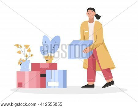 Woman Holding Cardboard Box With Things. Young Girl Packing Belongings And Plants