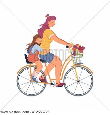 Woman Daughter Riding On Two-seater Bike Isolated