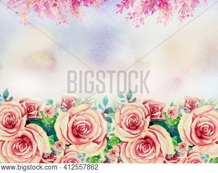 Roses Pink Flowers. Abstract Watercolor Painting Illustration Invitation Card, Valentine Card With B