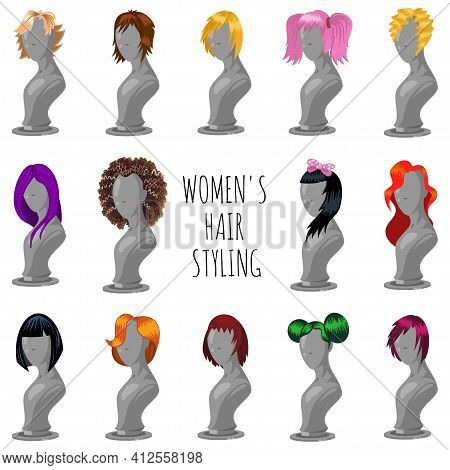 Woman Hair Style On Fashion Mannequin. Female Wigs Of Different Shapes And Colors. Vector Cartoon Bi