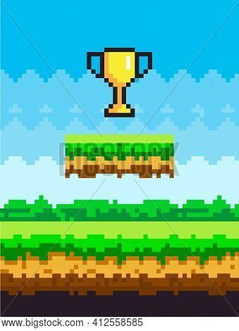 Golden Cup Pixel-game Art Illustration. Icon Of Shiny Pixel Trophy Successful Completion Of Game