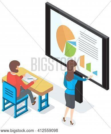 Business Lecture With Mentor And Male Student, Seminar. Woman Teacher Using Interactive Whiteboard