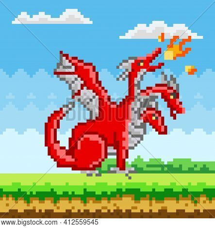 Pixel Red Three-headed Dragon. Pixelated Dinosaur With Wings Breathes Fire In Nature Landscape